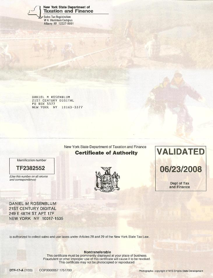 21st Century Digital Ny State Certificate Of Authority