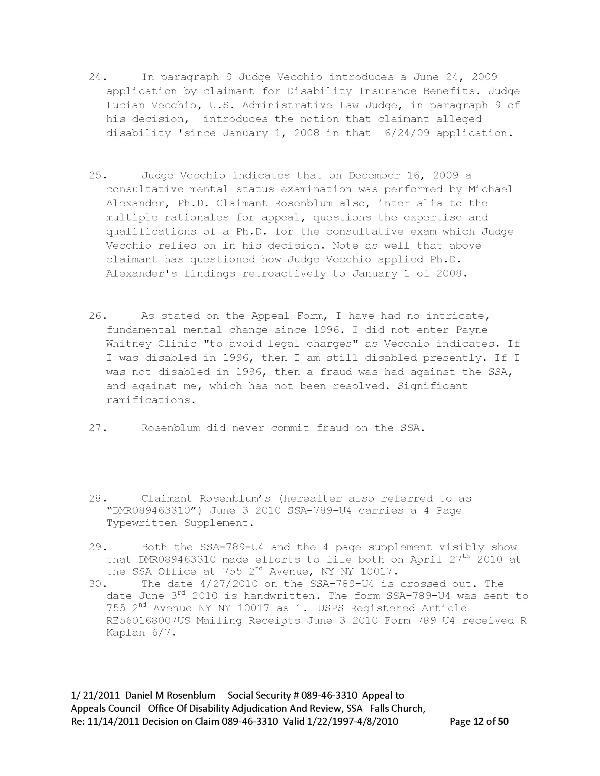 ssa789 January 8 2011 DMR to SSA Appeals Council Falls Church VA