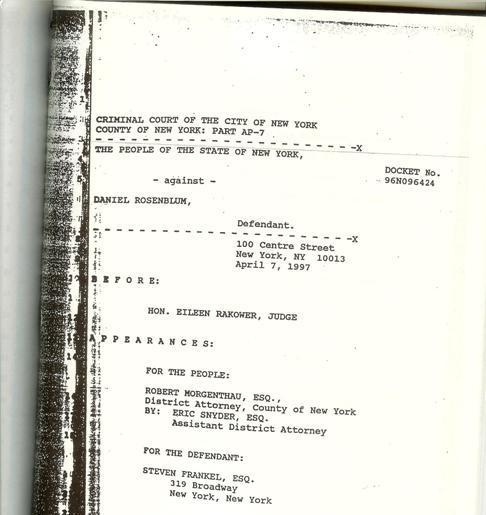 1996 MANHATTAN CRIMINAL COURT DOCKET # 96NO96424, 12/6/1996